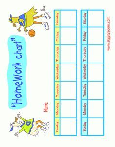 Homework reward chart for kids